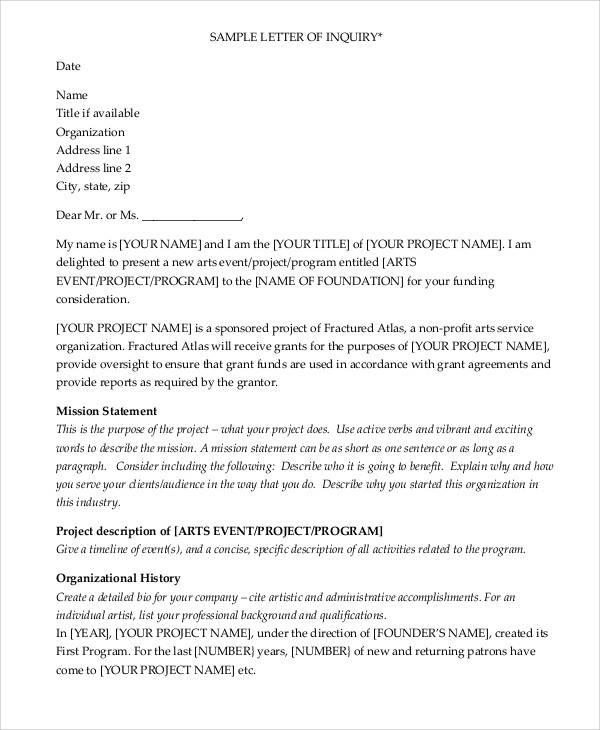 sample letter writing 12 grant writing samples and templates pdf sample 24645 | Grant Writing Letter of Inquiry Sample