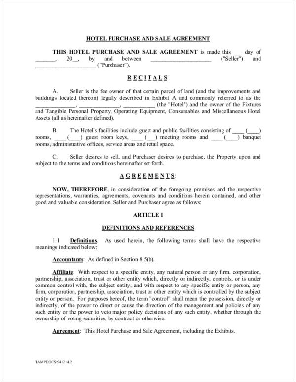 hotel business purchase and sale agreement