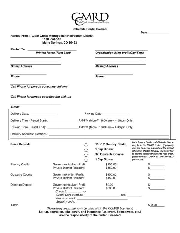 inflatable equipment rental invoice
