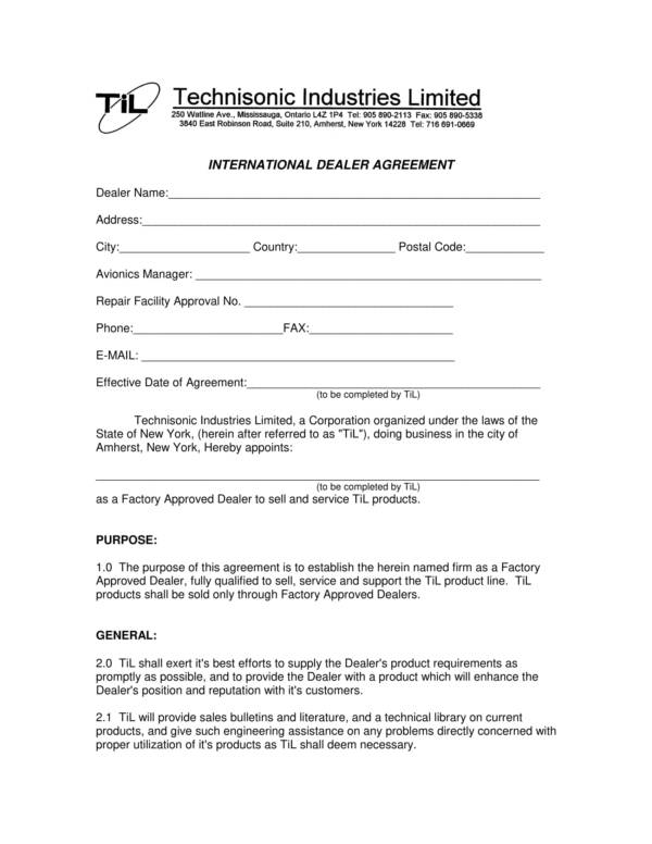 international trade contract template - 20 dealership agreement templates pdf word sample