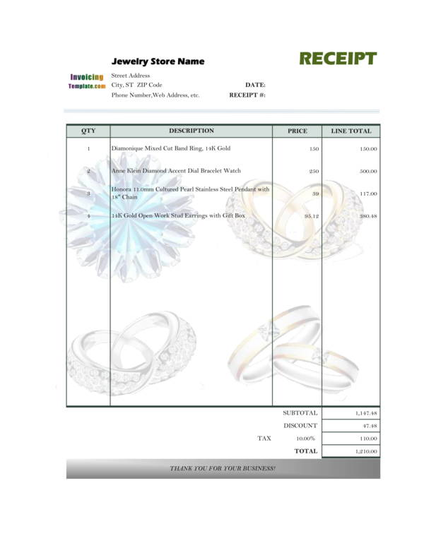 Jewelry Invoice Samples And Templates PDF Word Excel Sample - Free blank printable invoice online watch store