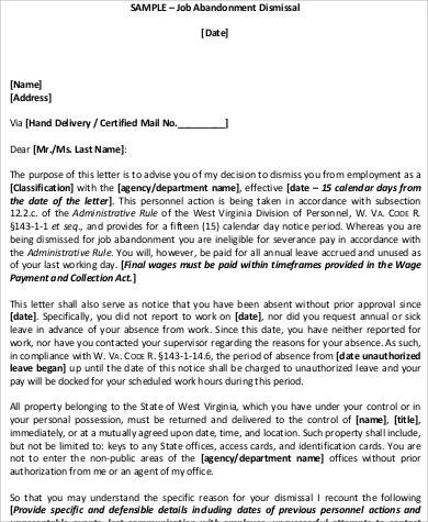 job abandonment dismissal notice