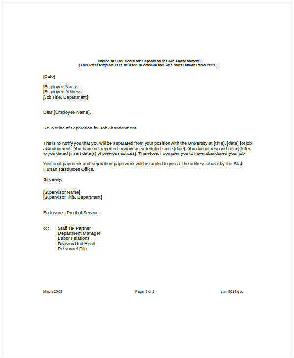 Job-Abandonment-Separation-Notice Quit Job Letter Template on abandonment termination, resume cover, promotion offer, for bank, application cover, offer acceptance,