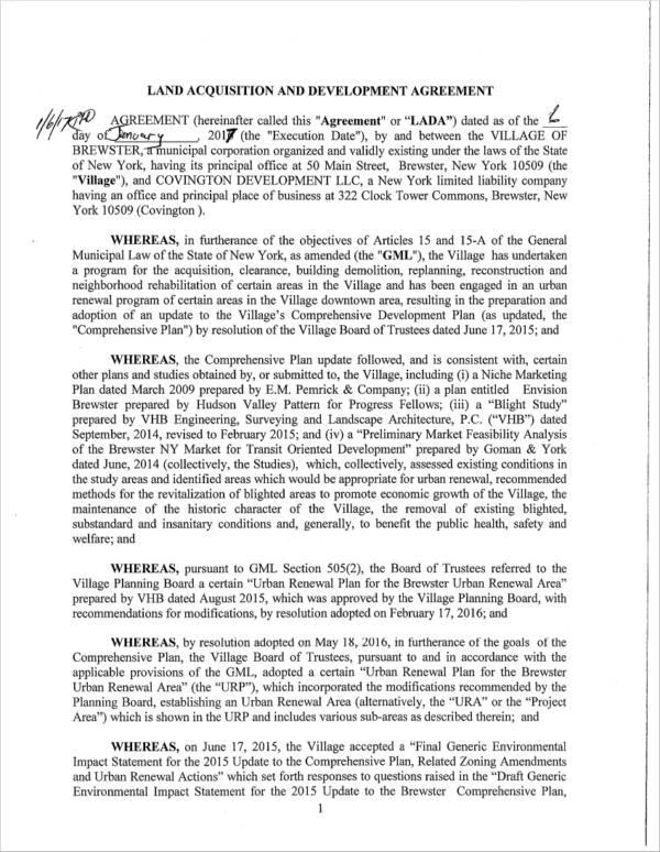 land acquisition development agreement