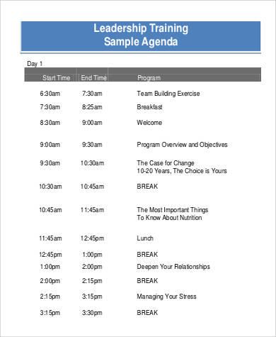 leadership training agenda sample