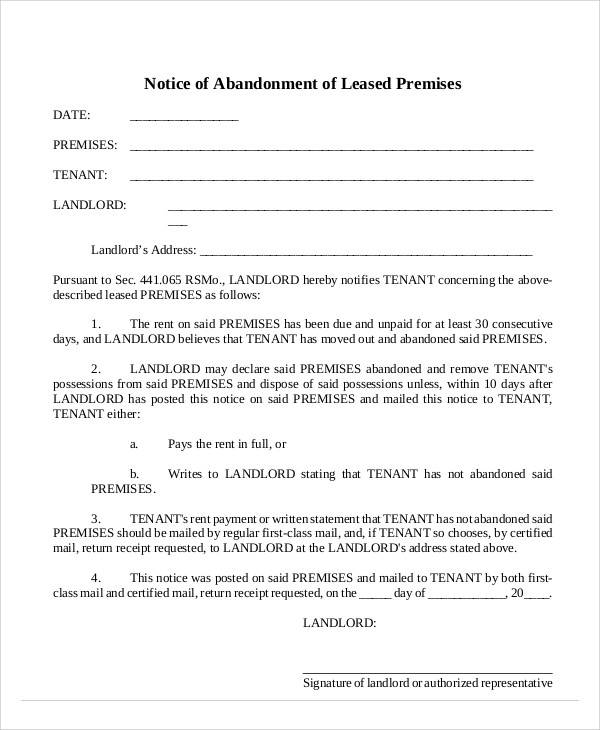 lease abandonment notice template