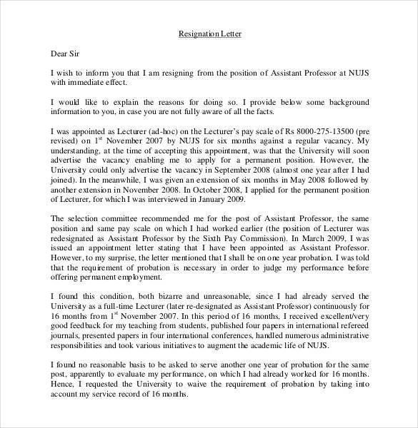 lecturer resignation letter sample