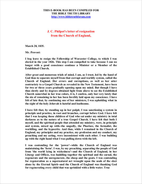 letter of resignation as church minister