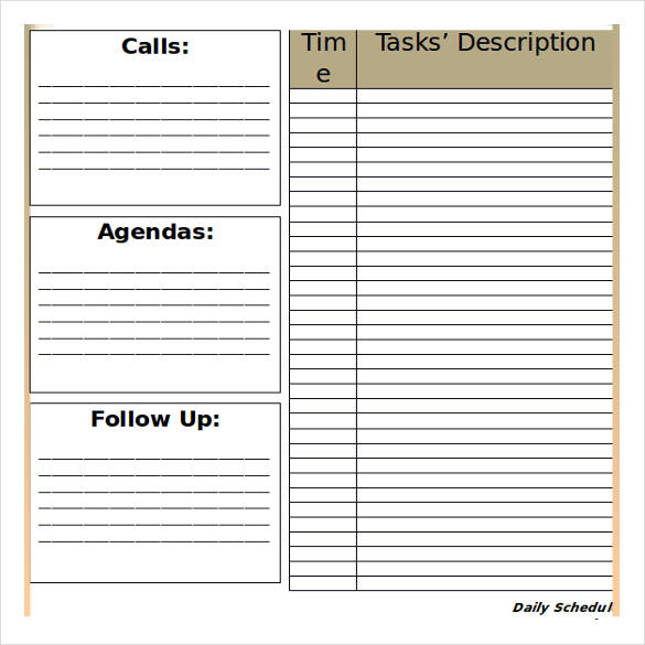 ms word blank daily schedule template