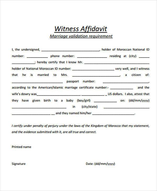 marriage witness affidavit sample