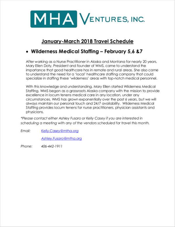 medical staffing travel schedule