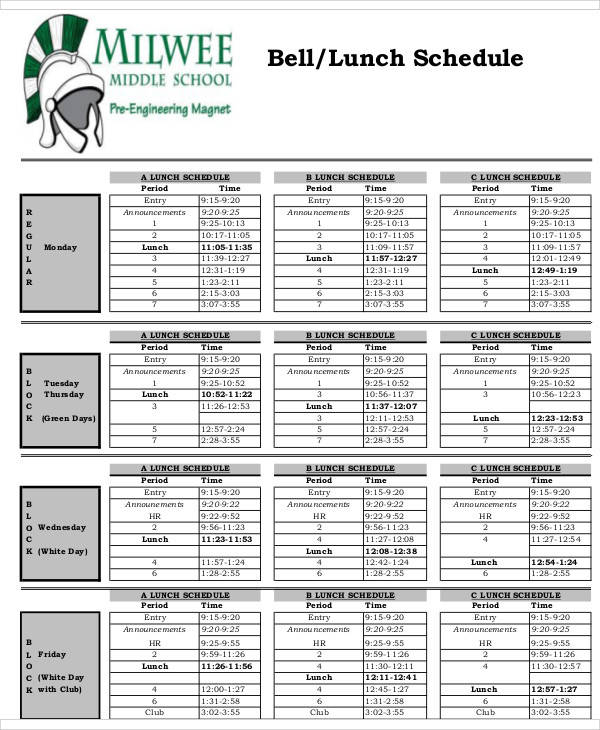 middle school sample lunch schedule