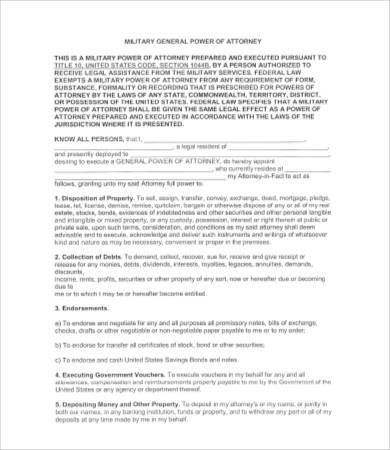 military general power of attorney