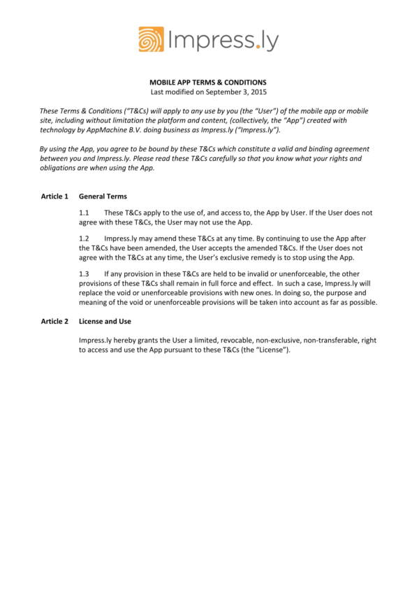 mobile application terms and conditions agreement 1