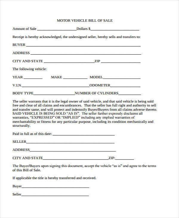 motor vehicle bill receipt template