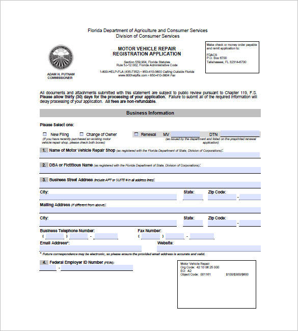 motor vehicle repair invoice