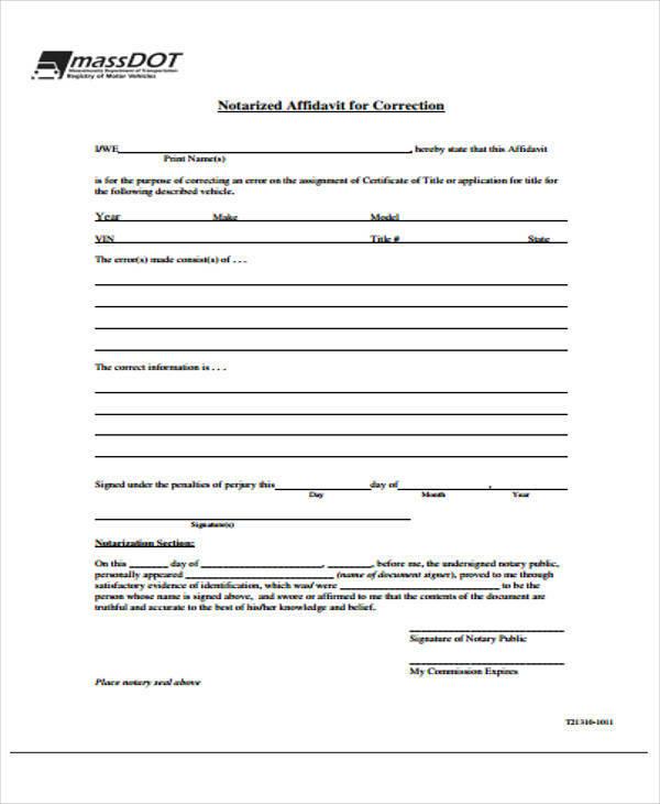 notary affidavit for correction