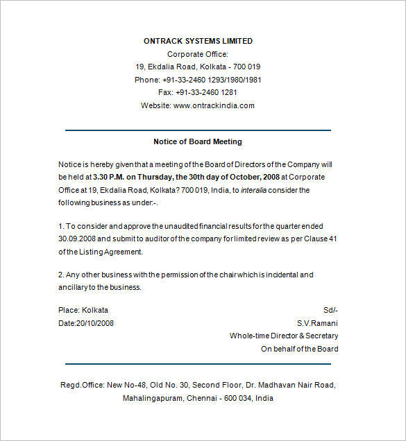 notice of board meeting format