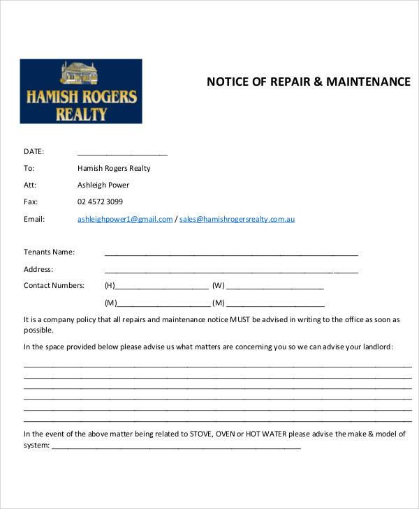 notice of repair and maintenance