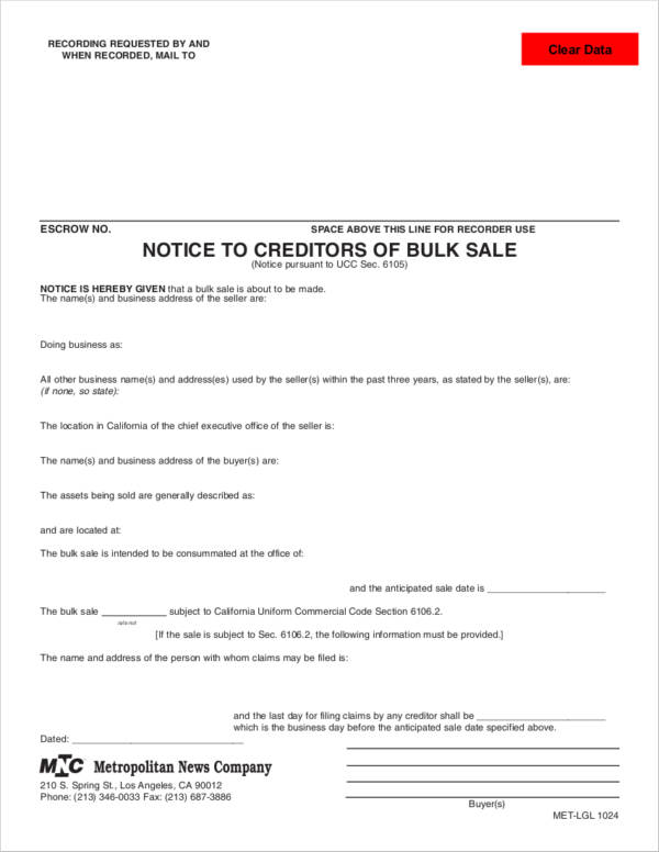 notice to creditors of bulk sale