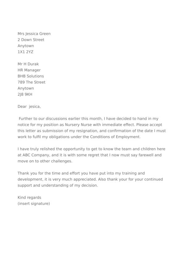 free 11  hospital resignation letter samples and templates