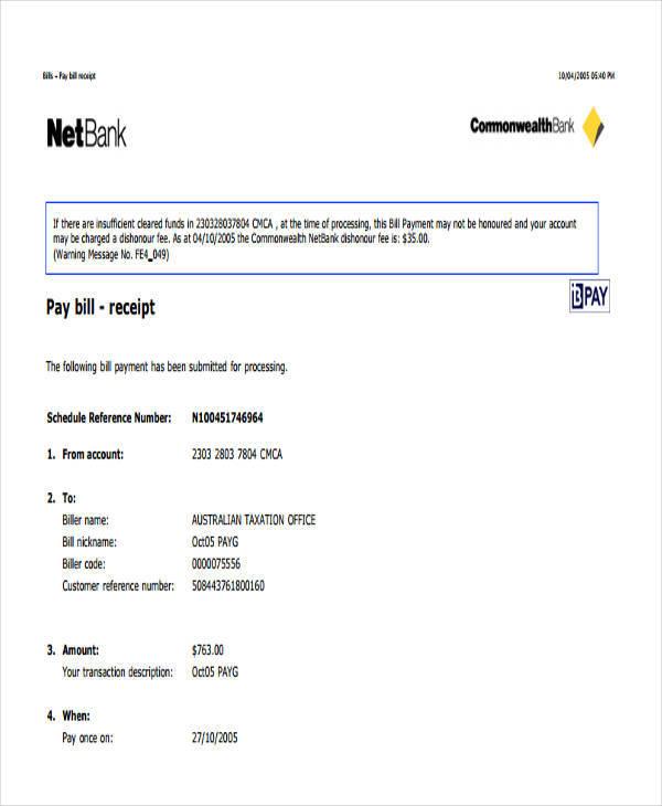 pament bill receipt template