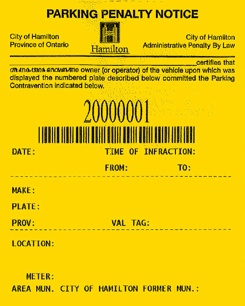 parking penalty receipt sample