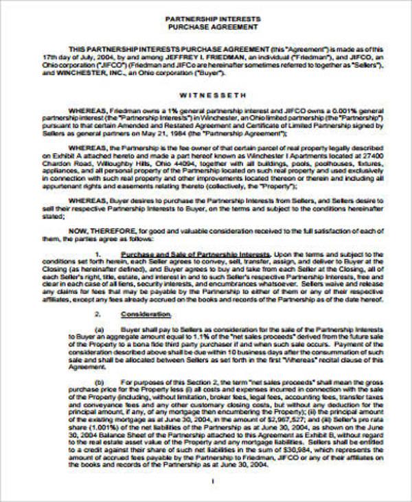 partnership purchase agreement