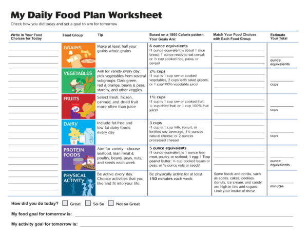 personal daily food plan worksheet