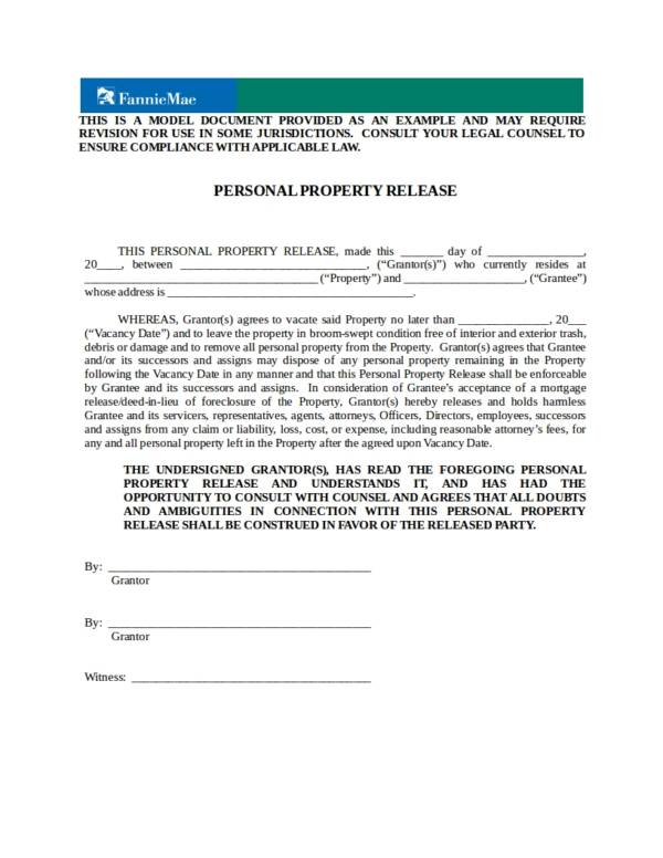 personal property release deed template