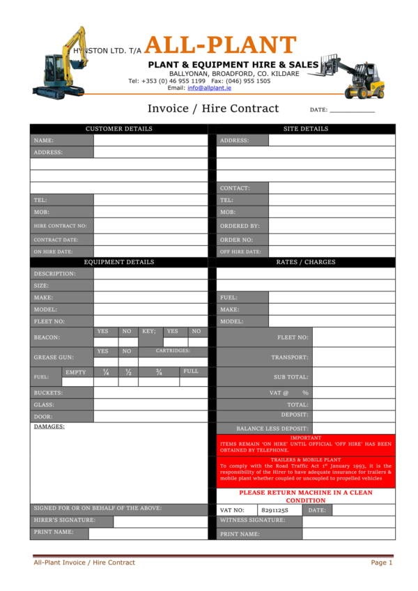 plant equipment invoice template