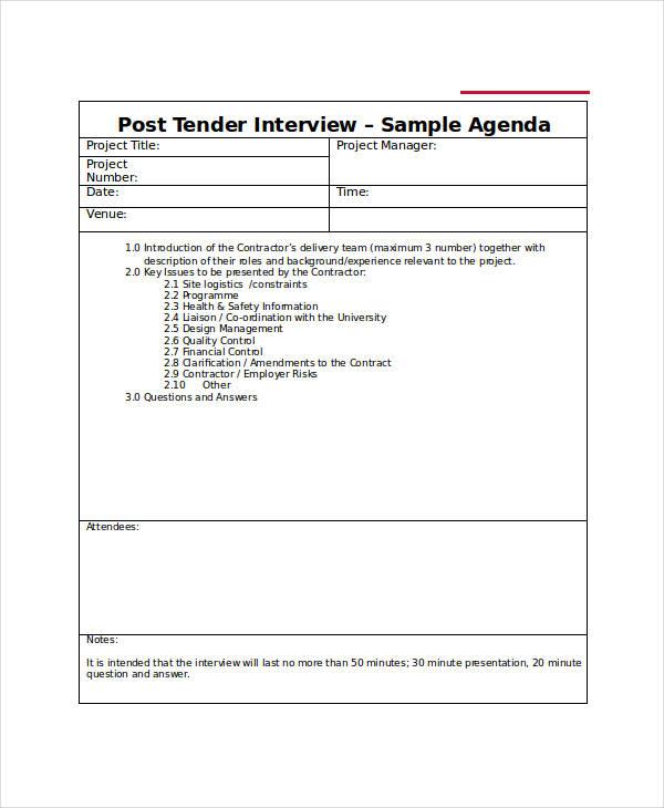 post tender interview agenda template