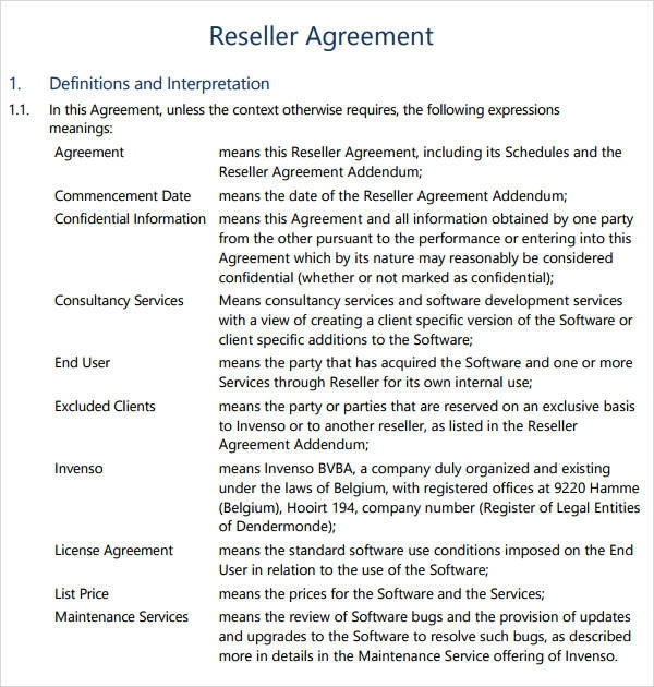 printable reseller agreement