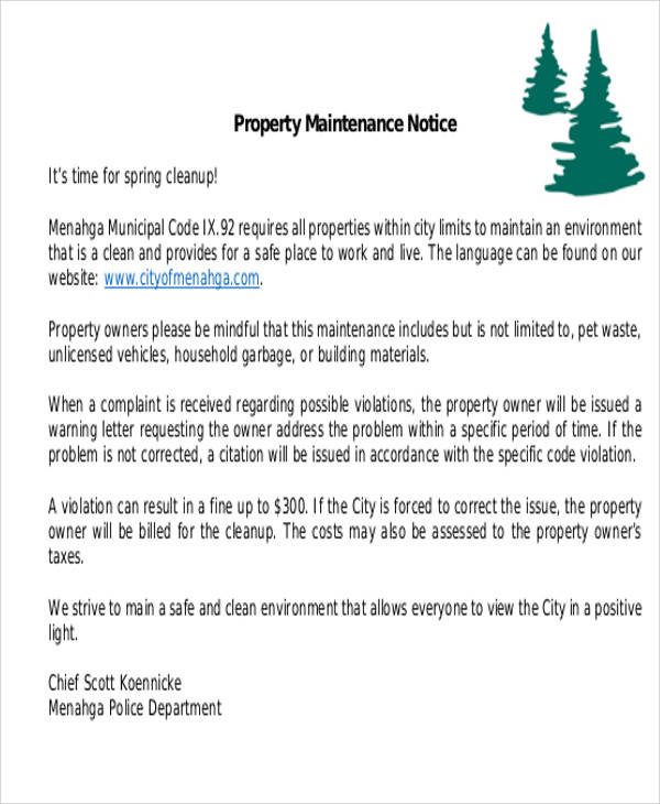 property maintenance notice