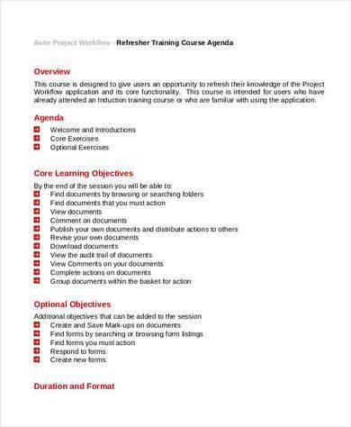 refresher training course agenda