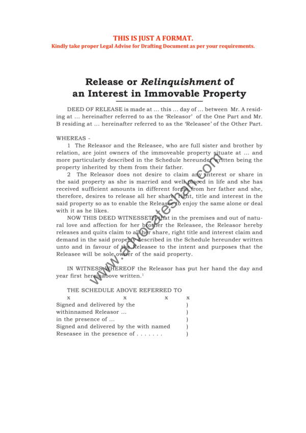 release or relinquishment of an interest in immovable property 1