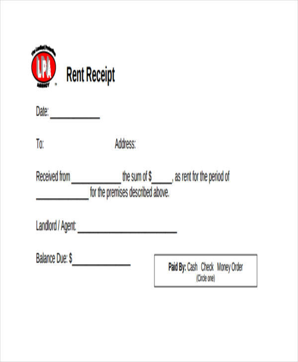 rent bill receipt template