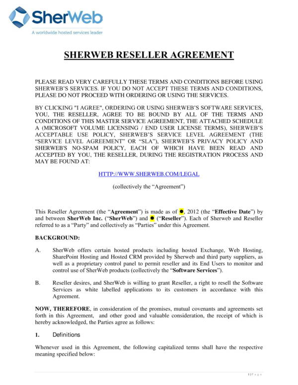 reseller agreement for software services