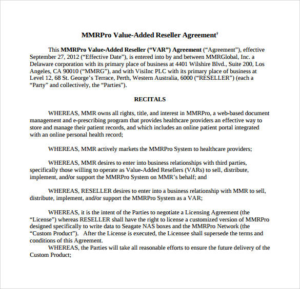 reseller agreement for web based documents