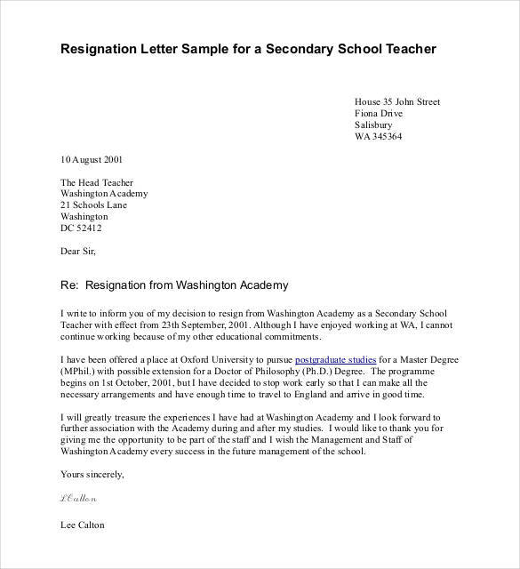 resignation letter sample for a secondary school teacher1