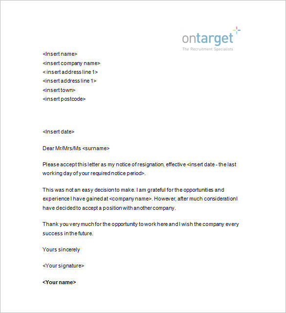 resignation with 2 weeks notice