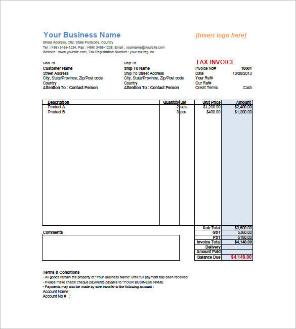 retail invoice template example