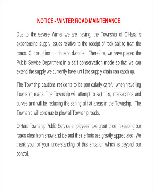 road maintenance notice