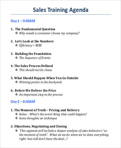 sales training agenda example