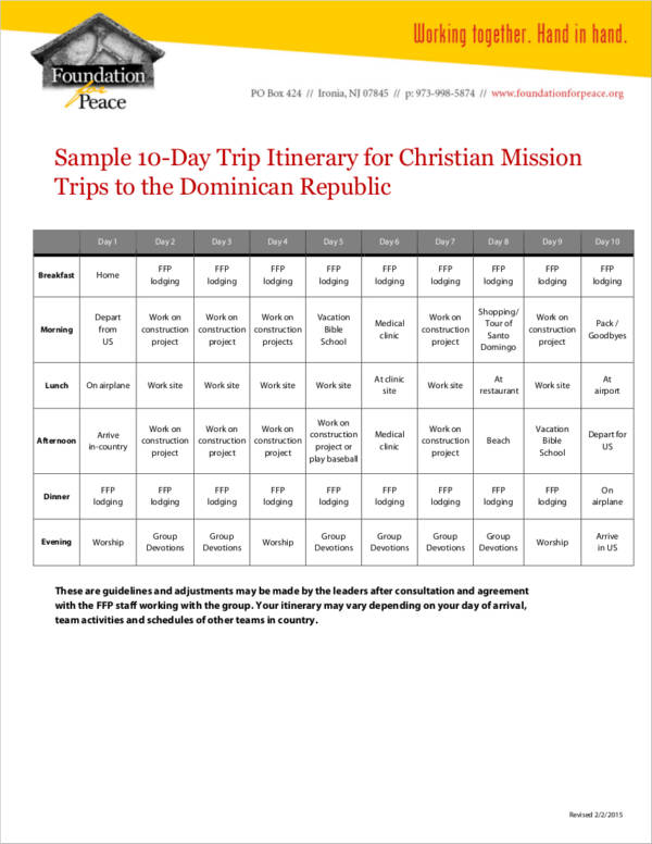 sample 10 day travel agenda itinerary