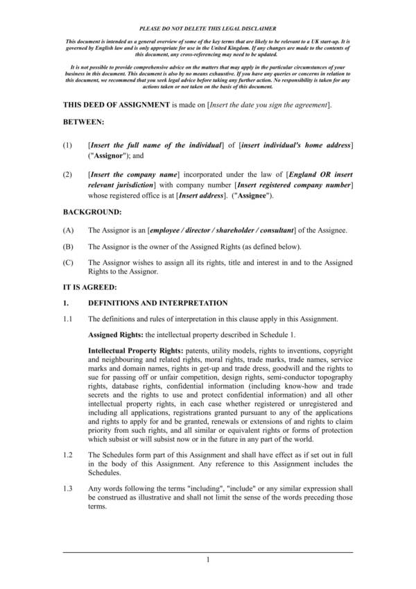 sample assignment of intellectual property rights pro assignee 1