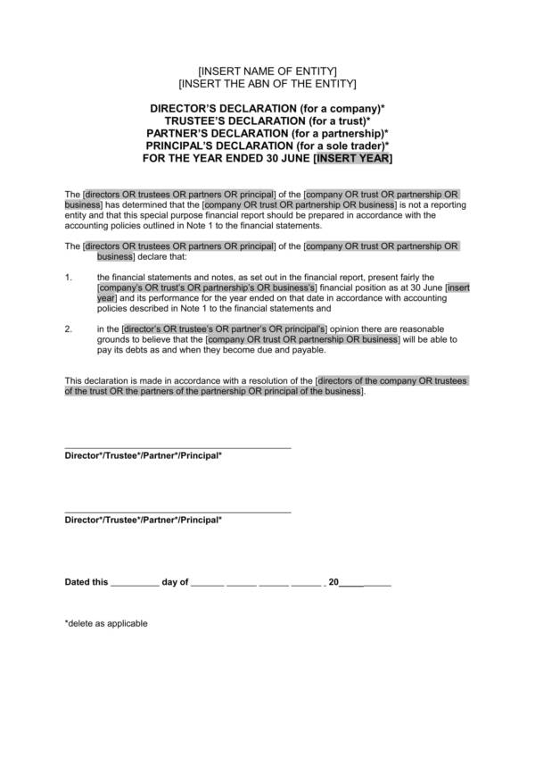 10 Declaration Statement Samples And Statements Pdf Word