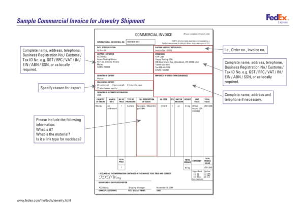 sample commercial invoice for jewelry shipment