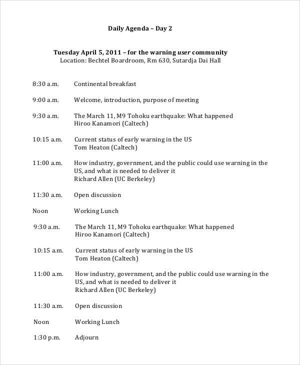 sample daily agenda for user community