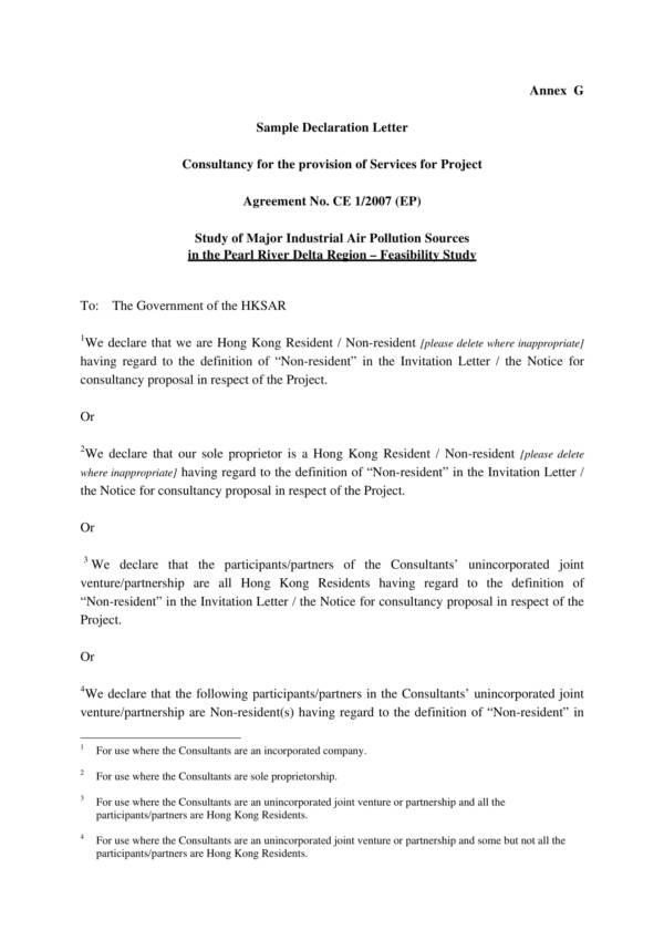 sample declaration statement in pdf